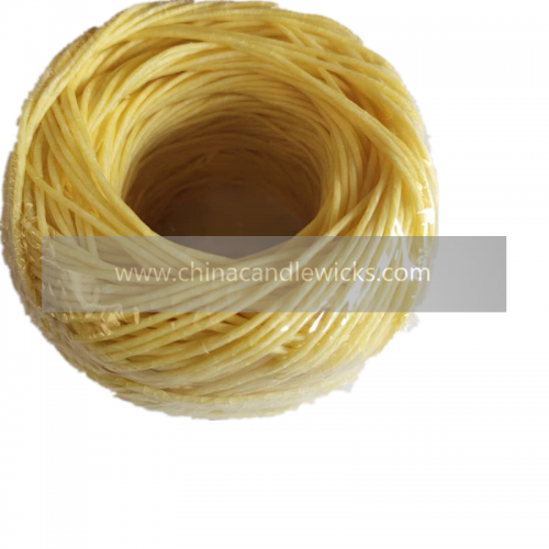 2.0mm yellow Wholesale 200ft 100% Organic Hemp Candle Wick with Natural Beeswax Coating